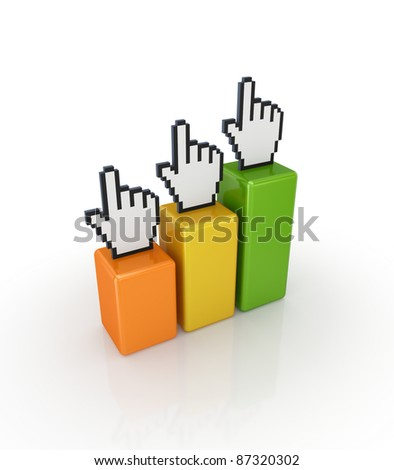 Large cursors and colorful graphs.Isolated on white background.3d rendered.