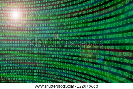 Large curved wall of binary code with lens flare