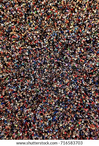 Large, dense and diverse group of people seen from above