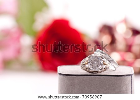 Large Diamond Engagement Ring with Silver Band