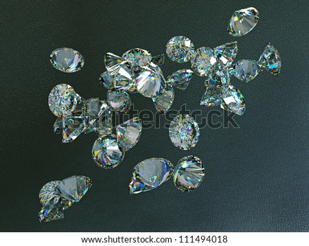 Large diamonds flow over leather background. High resolution