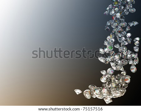 Large diamonds or gems flow over colorful gradient background