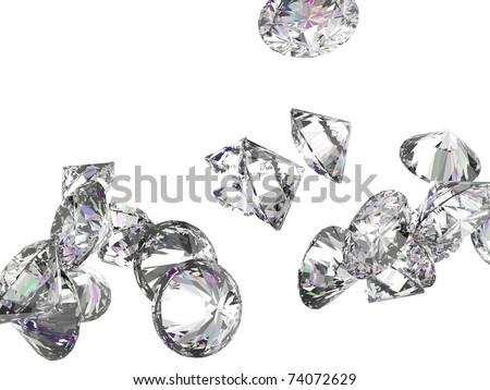 Large diamonds or gemstones isolated over white background