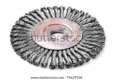 large disk brush used to clean up metals, studio isolated shot