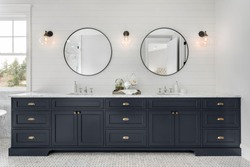 Large Double Vanity in Master Bathroom in New Luxury Home.
