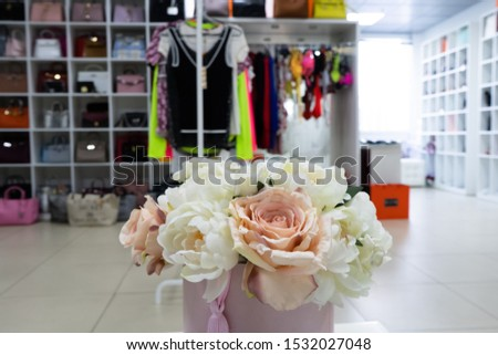 Large dressing room. Bags, shoes, things are neatly folded in the cabinets. The order in the wardrobe. Magical cleaning. Every thing in its place. #1532027048