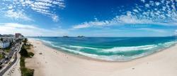 Large drone panorama of Barra da Tijuca beach, Rio de Janeiro, Brazil.