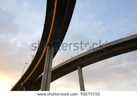 Large elevated traffic highway