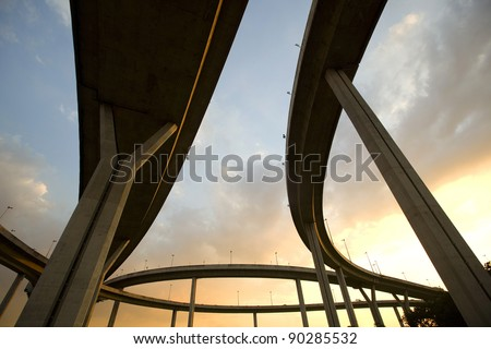 Large elevated traffic highway at sunset