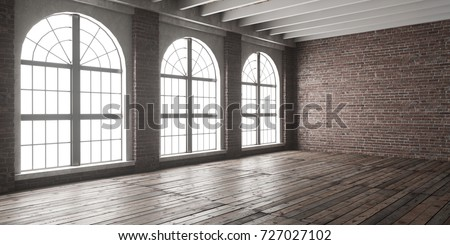 Large empty room in loft style with big arched windows. 