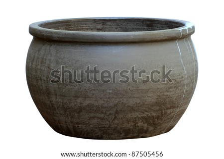 Large, empty, terracotta pot isolated on white