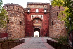 Large entrance gate of a famous monument in Delhi, India. Also known as Purana Qila or Quila.