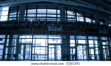 Large Entrance Hall -- With Large Glass Doors And A Modern Ceiling ...