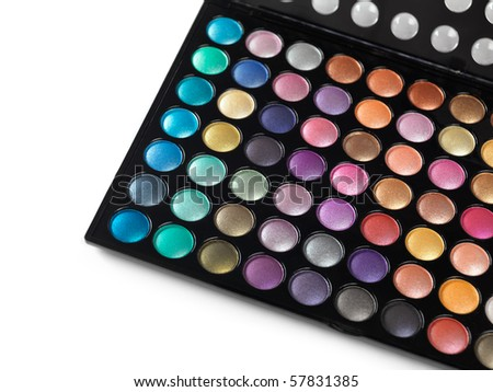 Large eyeshadow makeup palette isolated on white background. Colorful eye shadow make up.