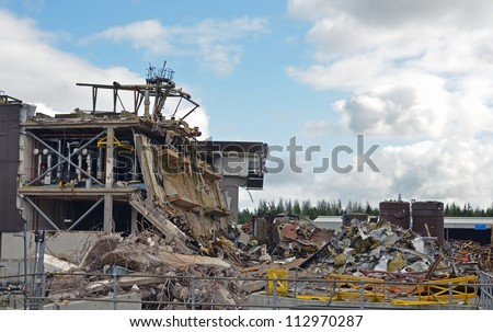 Large factory being dismantled and demolished