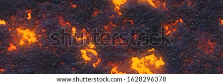 Large file volcanoes- crack terrain. Background lava- seamless hot texture. Danger terrain heat- 3d illustration fluid metal. Burning coals- surface magma. Abstract nature pattern- glow faded flame.