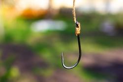Large fishing hook. Fishing hook without bait.