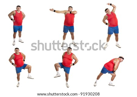Large fitness man doing different exercises isolated in white