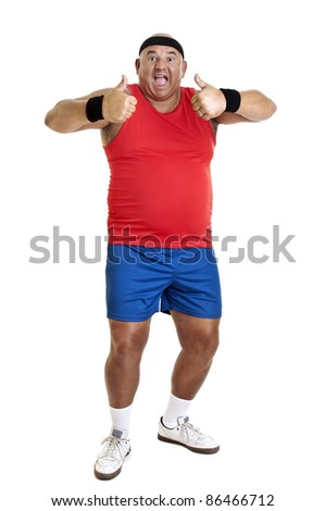 Large fitness man isolated in white