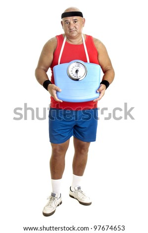 Large fitness man with weight scale isolated in white