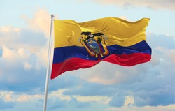 Large flag of Ecuador waving in the wind