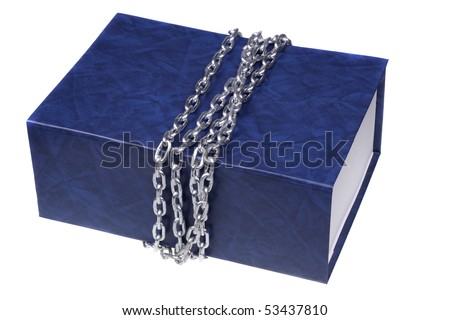 Large folders in chains. Isolated on a white background