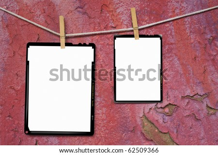Large format film frames, against grungy background, empty frames, free picture or copy space