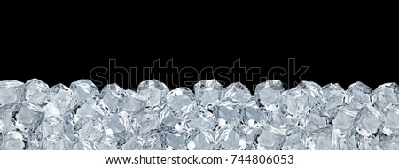 Large format ice cubes background isolated on black background  #744806053