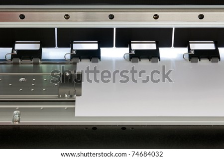 large format ink jet printer Detail with paper roll