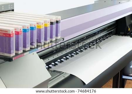 large format ink jet printer with paper roll