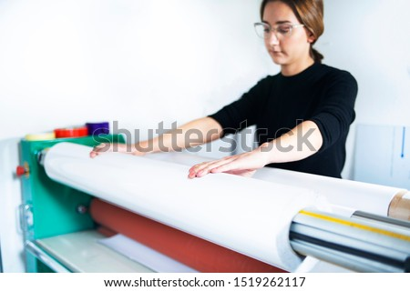 Large format printing. Printing plotter support, the printer operates the machine