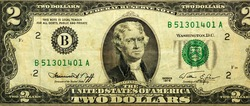 Large fragment of the Obverse side of 2 two dollars bill banknote series 1976 with the portrait of president Thomas Jefferson, old American money banknote, vintage retro, United States of America