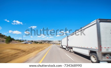 large freight truck on highway #734368990