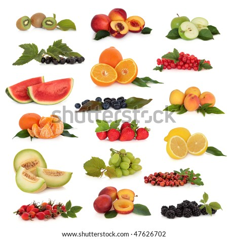 Large fruit collection high in antioxidants and vitamins,  isolated over white background.