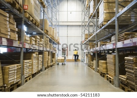 Large furniture warehouse - stock photo