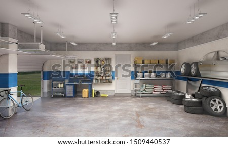 Large garage with workspace and car components, 3d illustration Foto stock ©