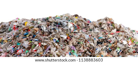 large garbage pile isolated on white background ,global warming