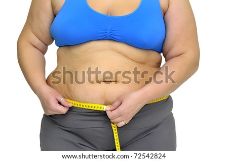 Large girl body part with measuring tape isolated in white