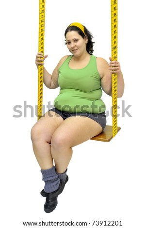 Large girl in a swing made of measuring tape