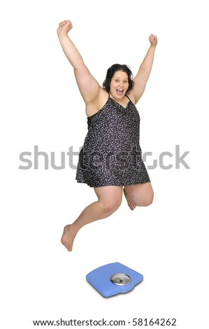 Large girl in nightie jumping over a scale isolated in white