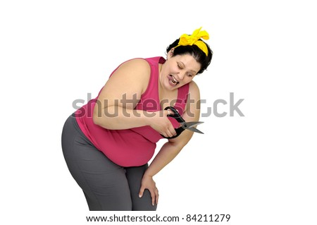Large girl isolated in white with scissors
