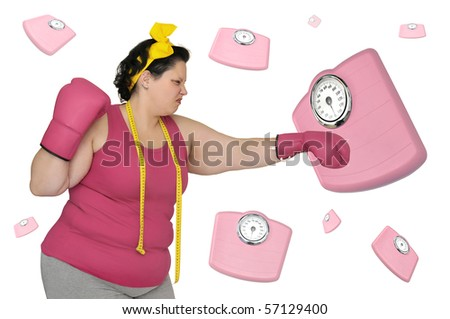 Large girl with boxing gloves beating  a scale isolated in white