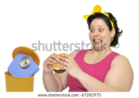 Large girl with hamburger and weight scale in the garbage bin