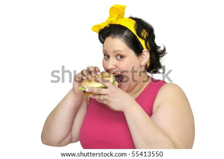 Large girl with hamburger isolated in white