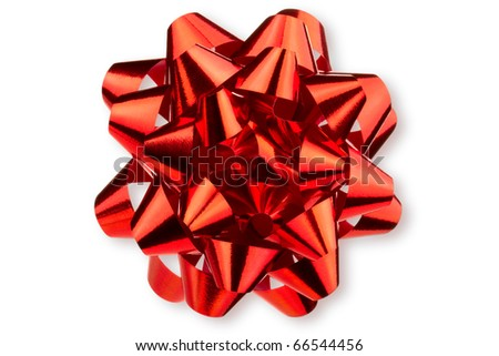 Large glossy red bow. Isolated on white.