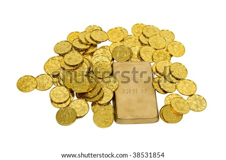 Large gold bar with many gold coins showing success, wealth and luxury - path included