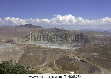 Large gold copper and ore pit strip mine in Morenci, Arizona