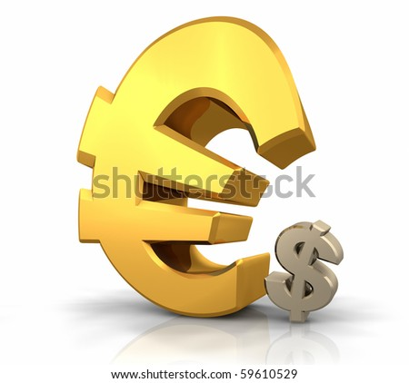 Large gold euro sign leaning over a small dollar sign