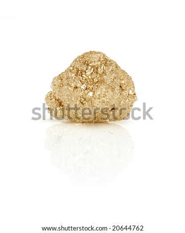 Large gold nugget isolated on white background with reflection