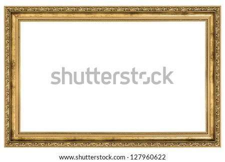 large golden frame isolated on white background